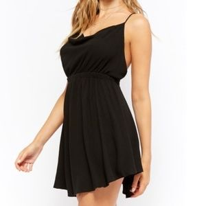 NWT I F21 BLACK OPEN BACK SKATER BLACK MINI DRESS